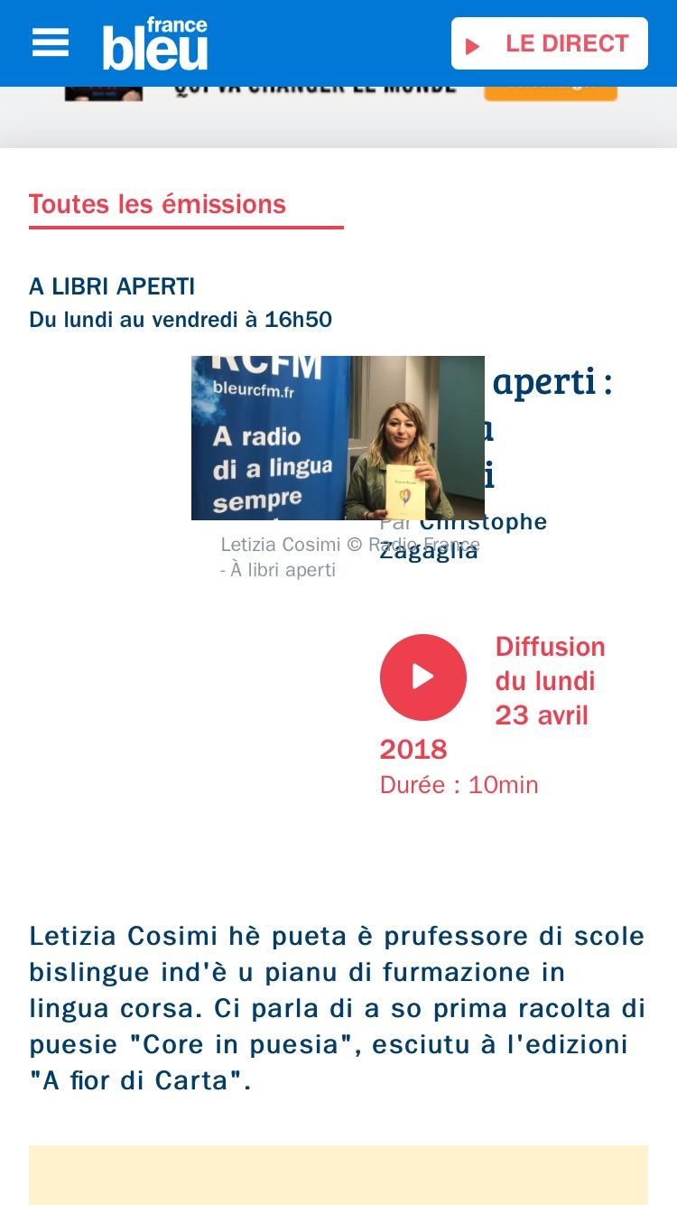 Letizia Cosimi sur RCFM
