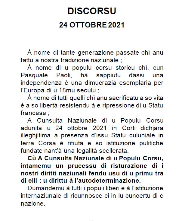 Discours 24 octobre 2021